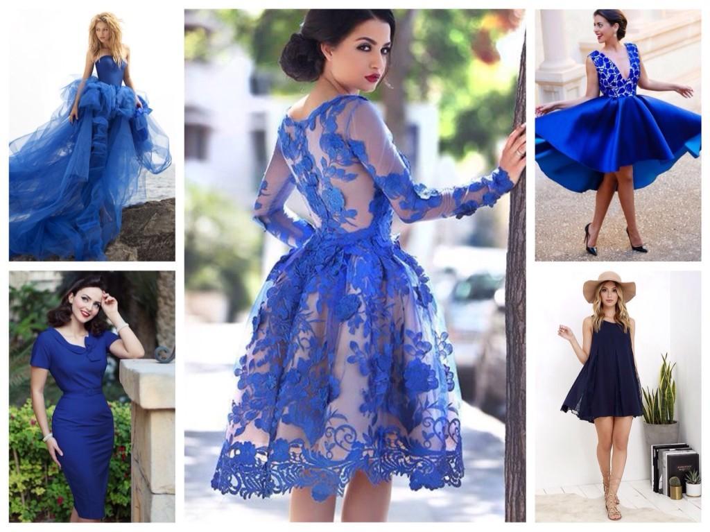 Синие платья различных фасонов