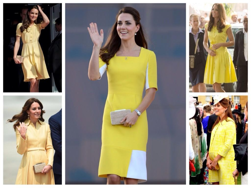 Кейт Мидллтон в желтых платьях