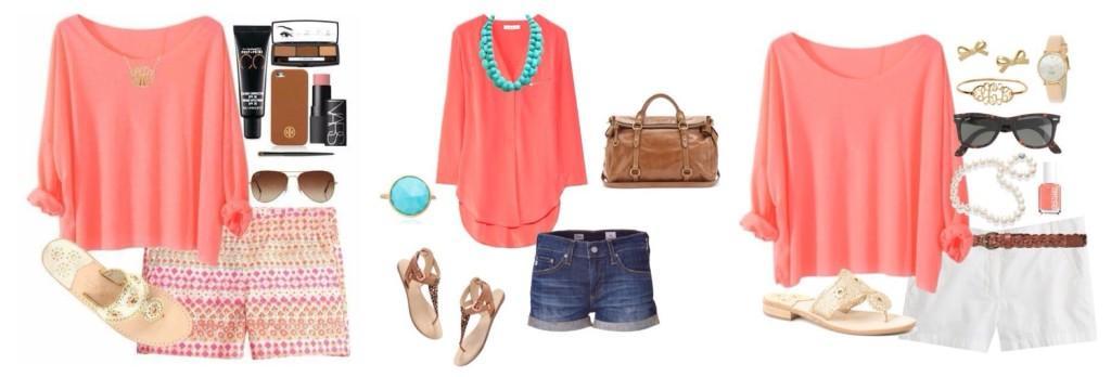 блузки кораллового цвета