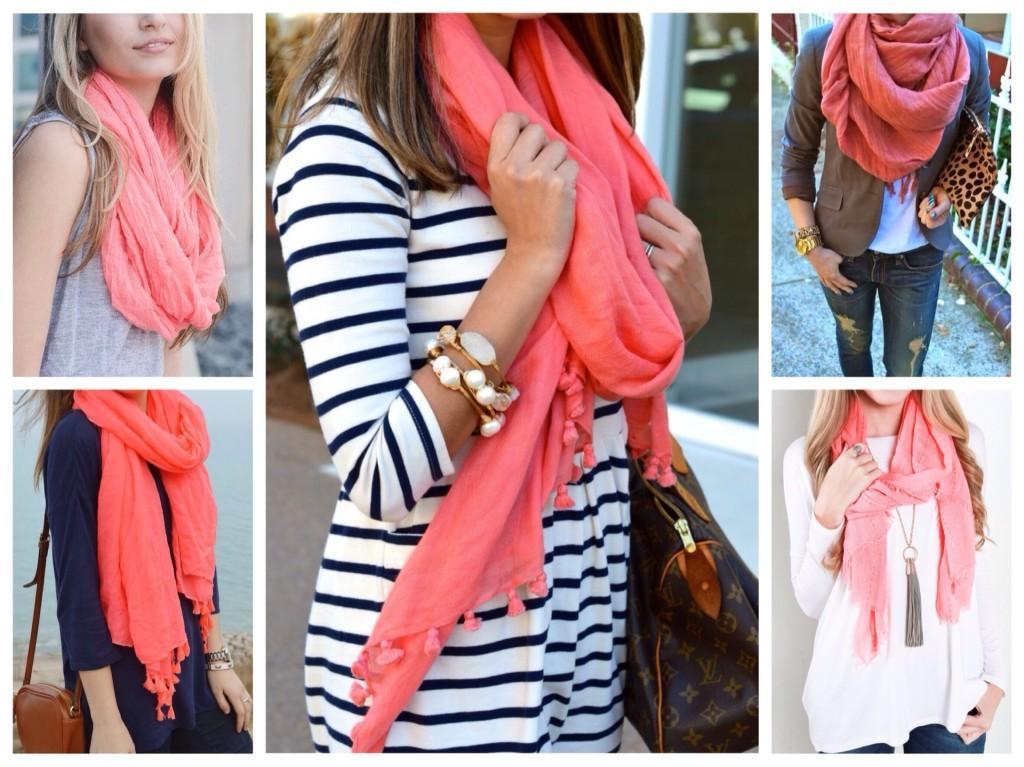 шарфы и снуды кораллового цвета