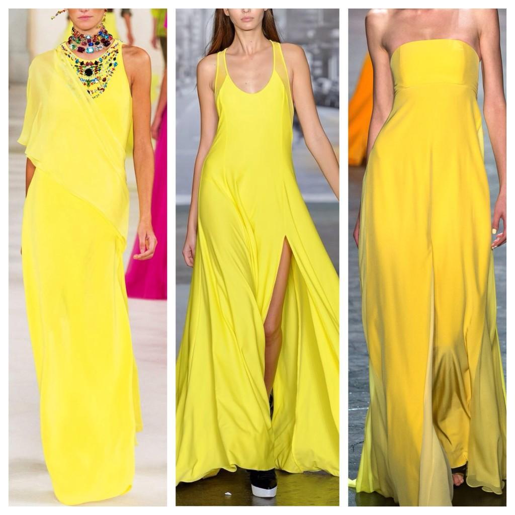 желтые платья в пол