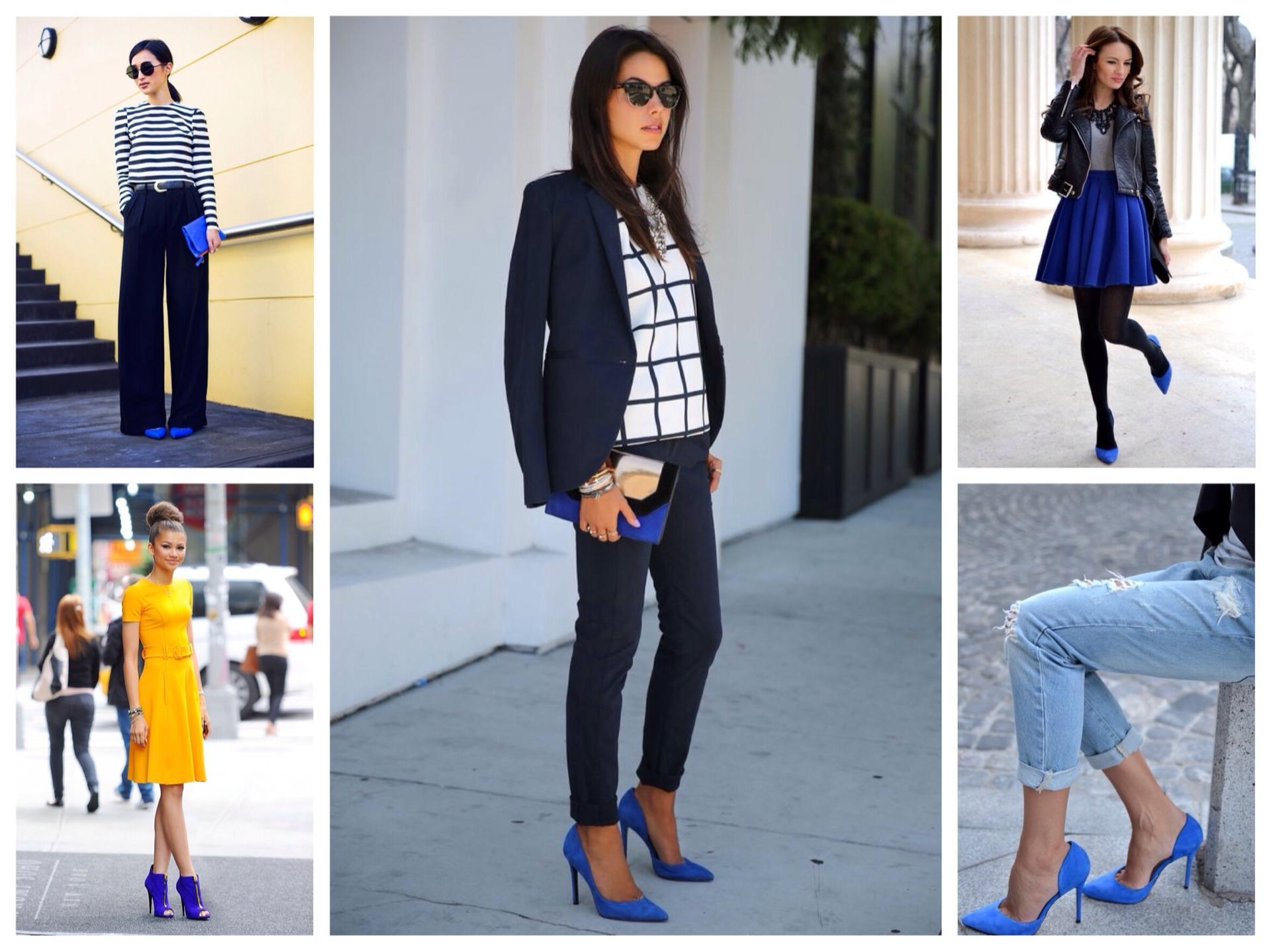 С чем сочетать синий цвет в одежде и обуви