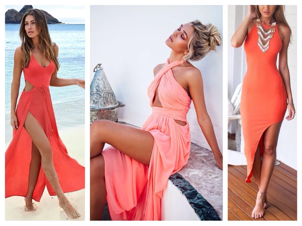 ассиметричные коралловые платья