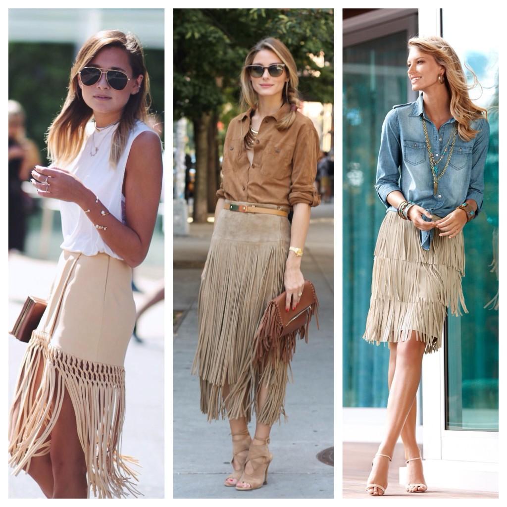 бежевые юбки с бахромой