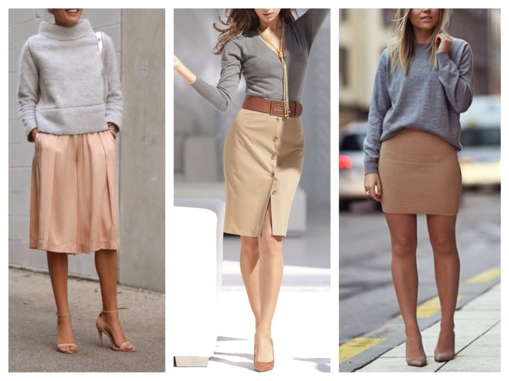 бежевые юбки с серым