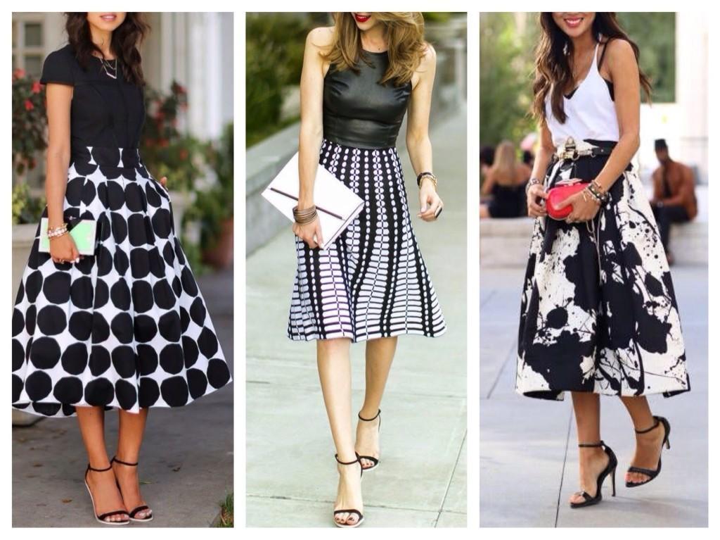 черно-белый принт в юбках