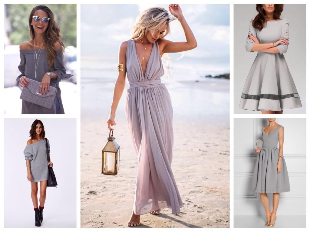 различные модели серых платьев