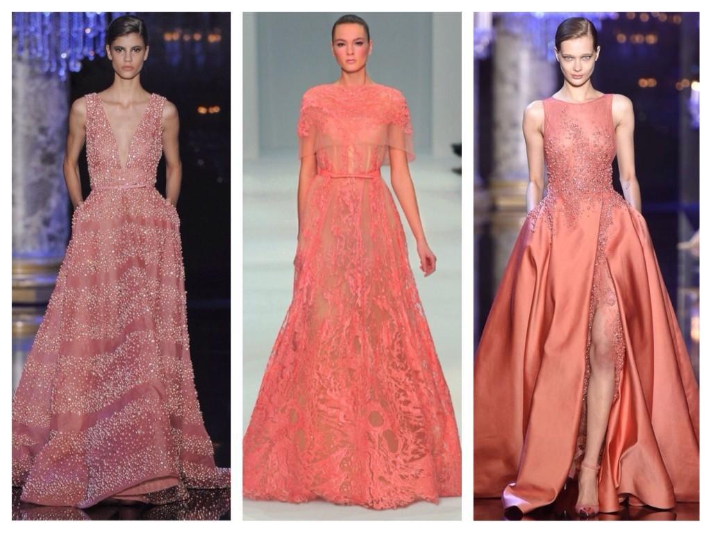 коралловые платья с подиумов