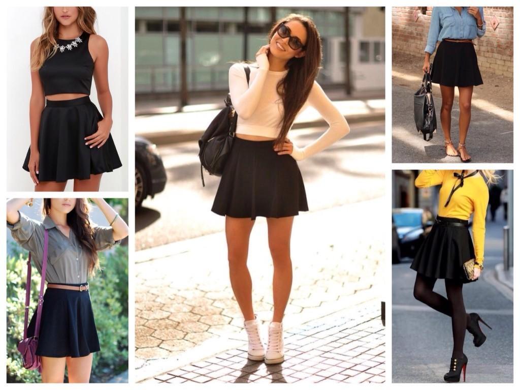 черная юбка скейтер