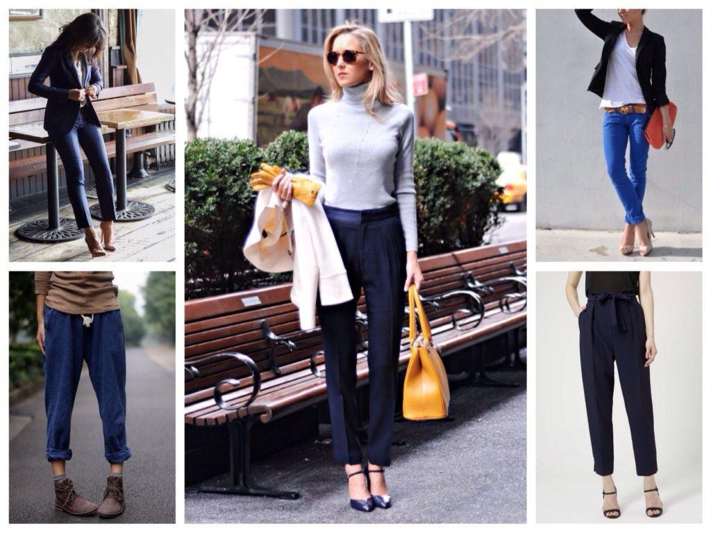 подбор обуви с синими брюками