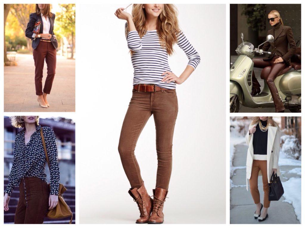 варианты комплектов с коричневыми брюками