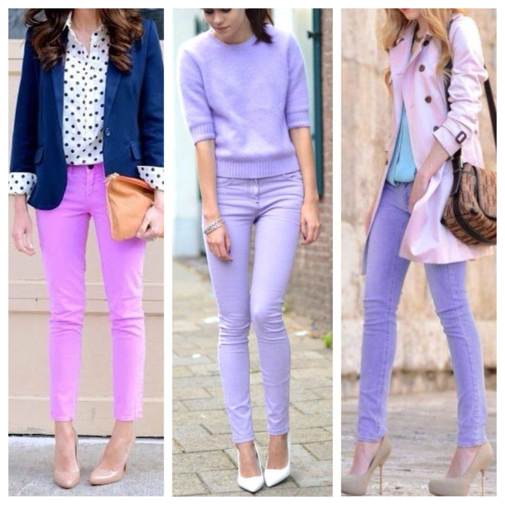 сиреневые брюки
