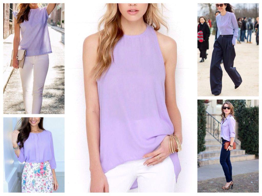 блузки и рубашки сиреневого цвета