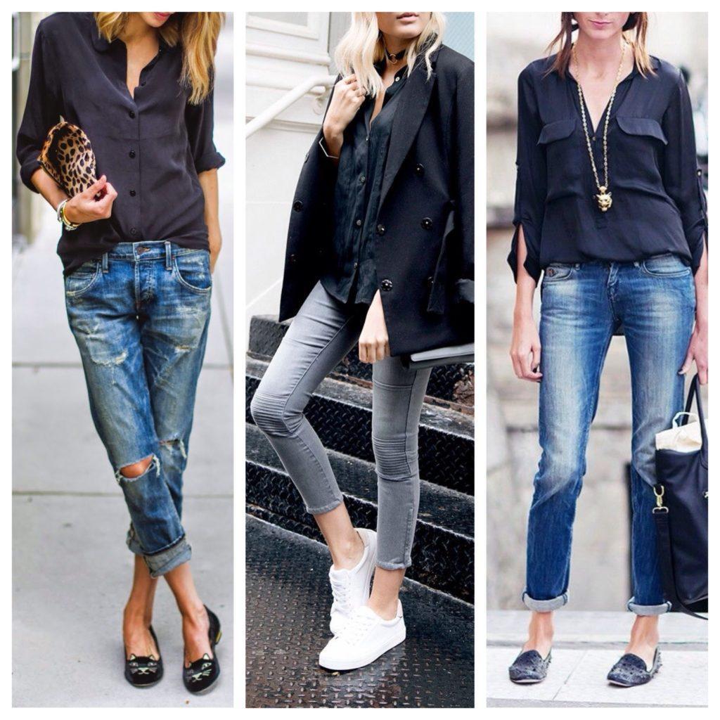 черная рубашка с джинсами