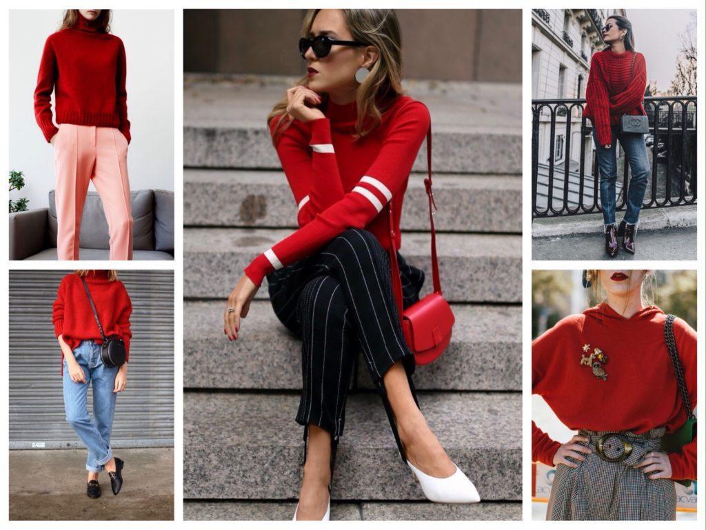 комплекты с красными свитерами и водолазками