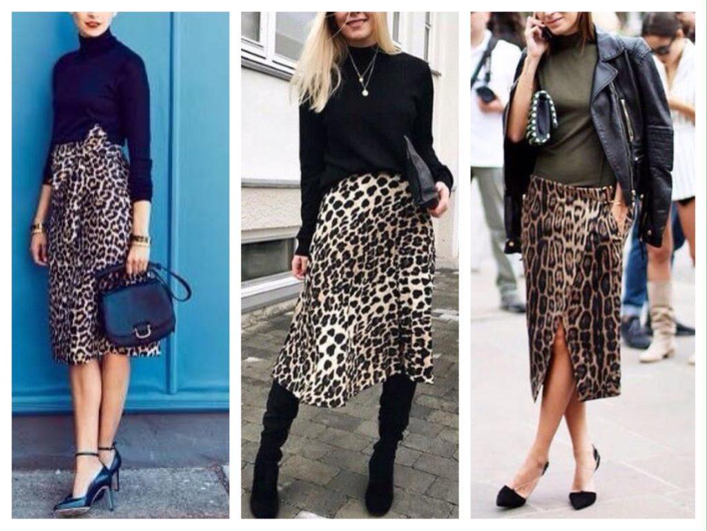 леопардовая юбка миди