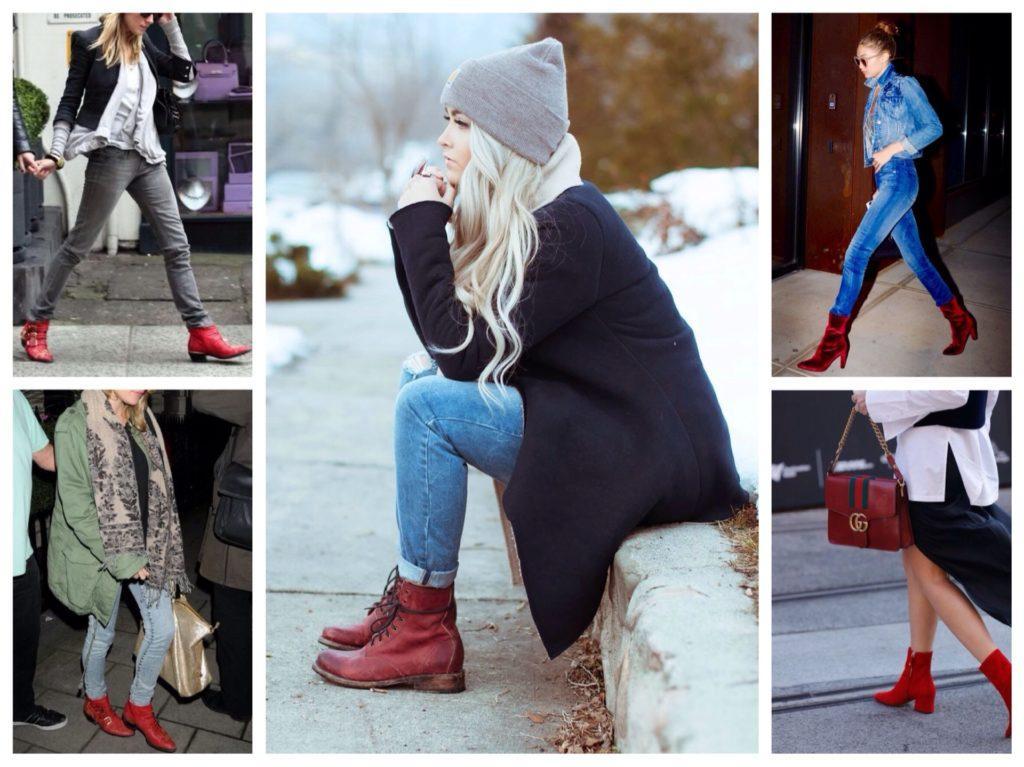 ботинки и ботильоны красного цвета