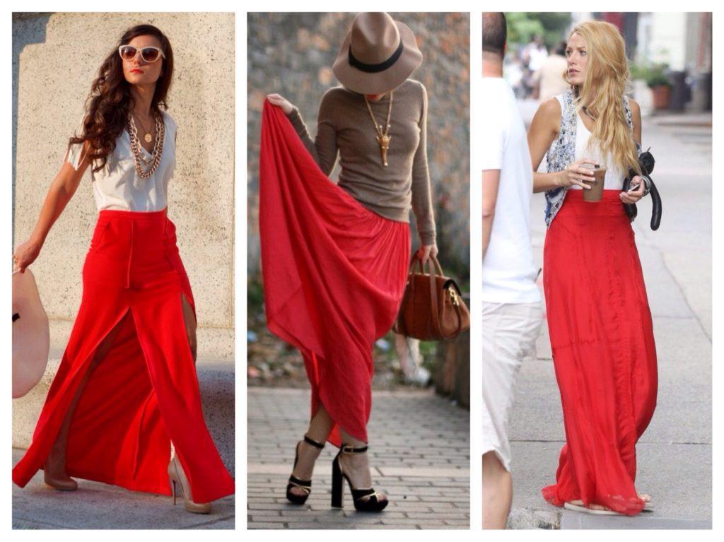 красные юбки в пол
