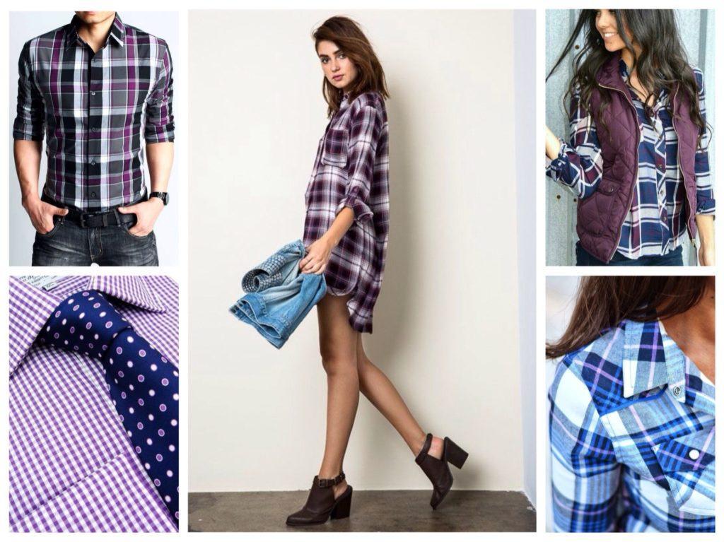 рубашки с фиолетовой клеткой