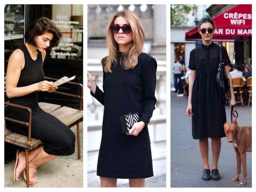 черное платье образы