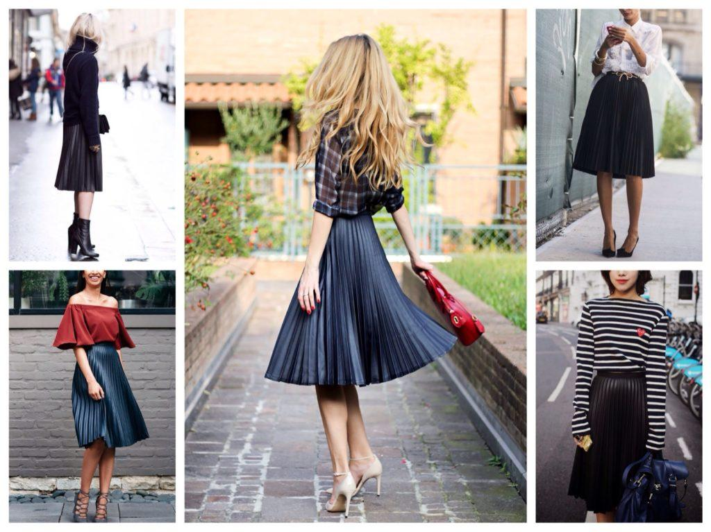черные плиссированные юбки