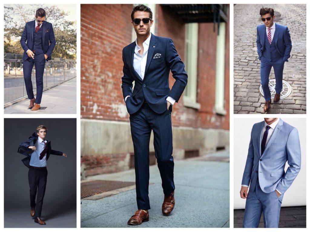 синие костюмы на выпускной