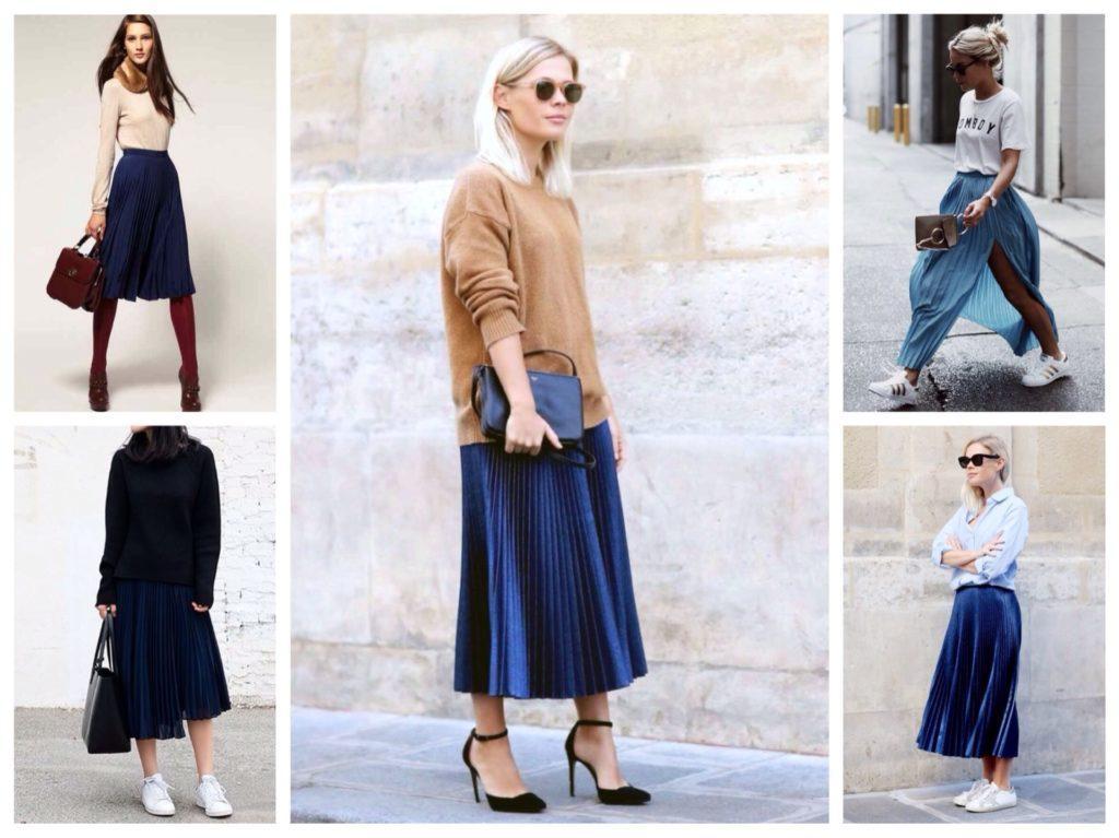 синие плиссированные юбки