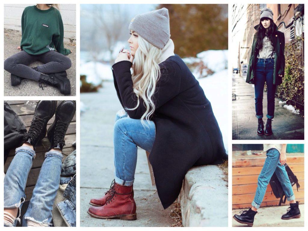 высокие ботинки с джинсами