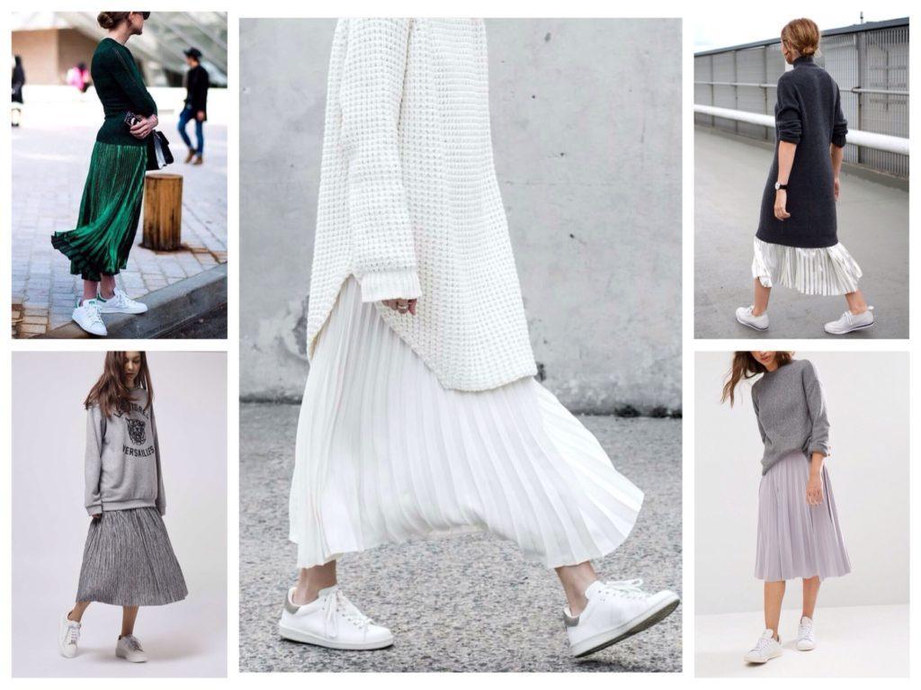 плиссированные юбки с кроссовками