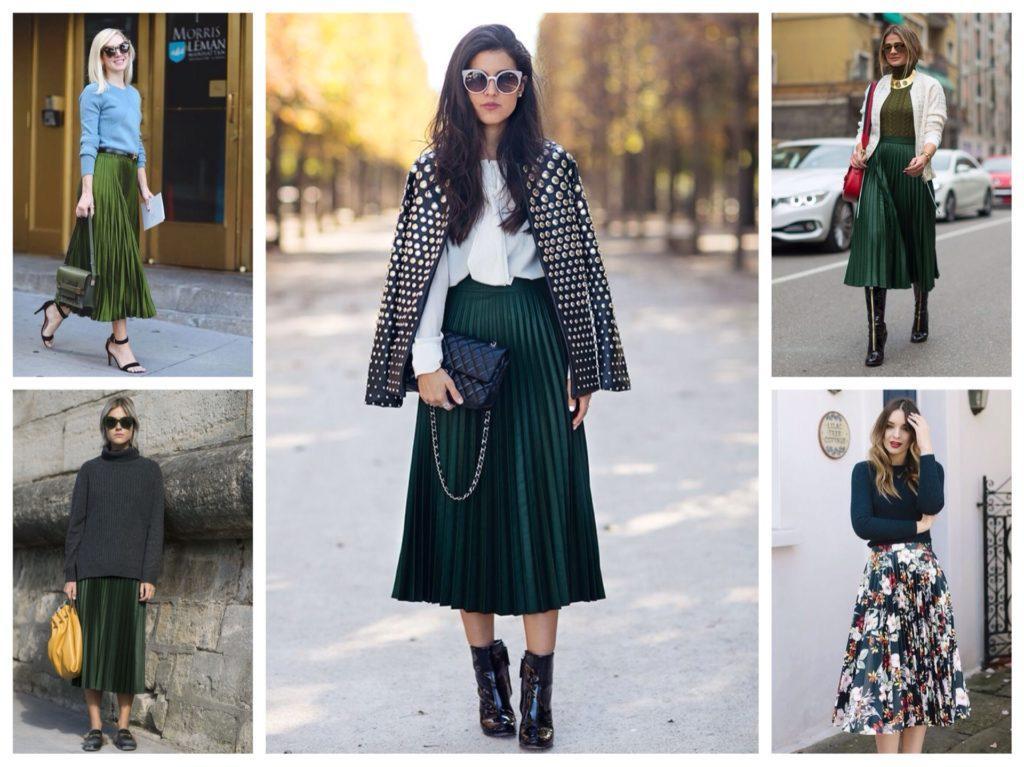 зеленые плиссированные юбки
