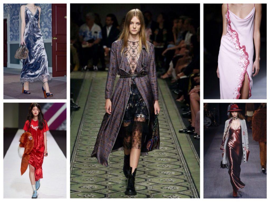 Платья-комбинации образы с подиумов