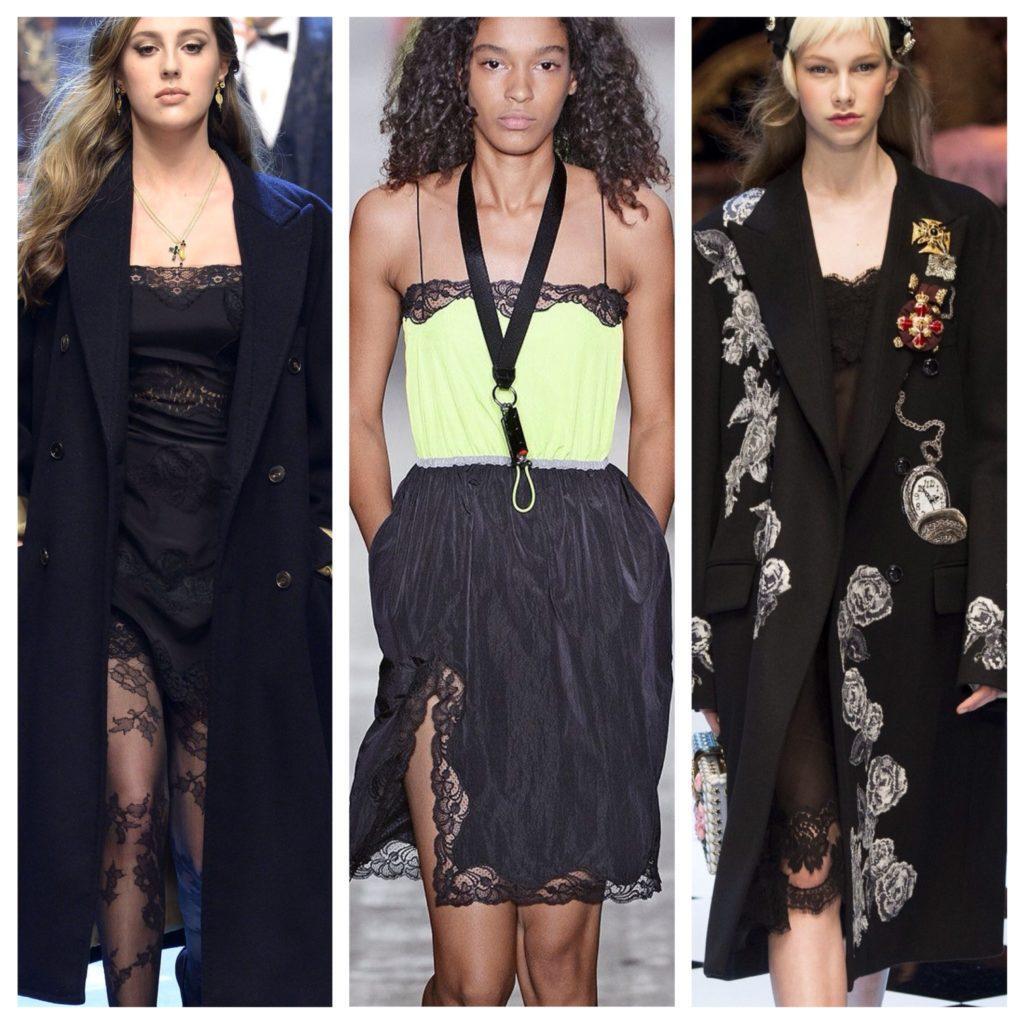 Платья-комбинации на подиумах