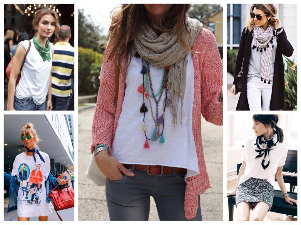 футболка с платком или шарфом