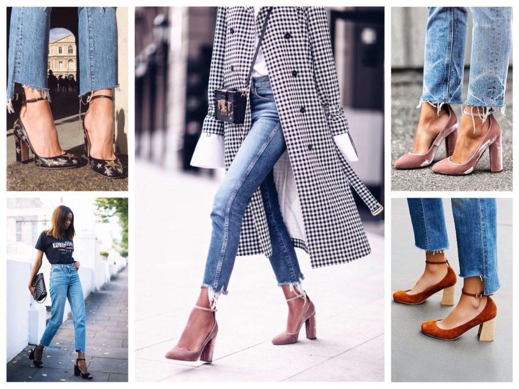 джинсы с туфлями на ремешке
