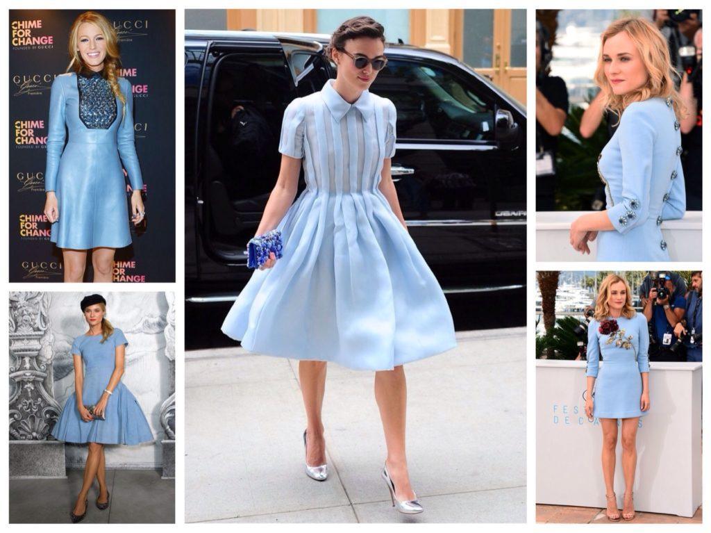 Голубые платья длиной до колена