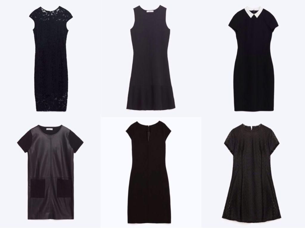 Силуэты базовых черных платьев