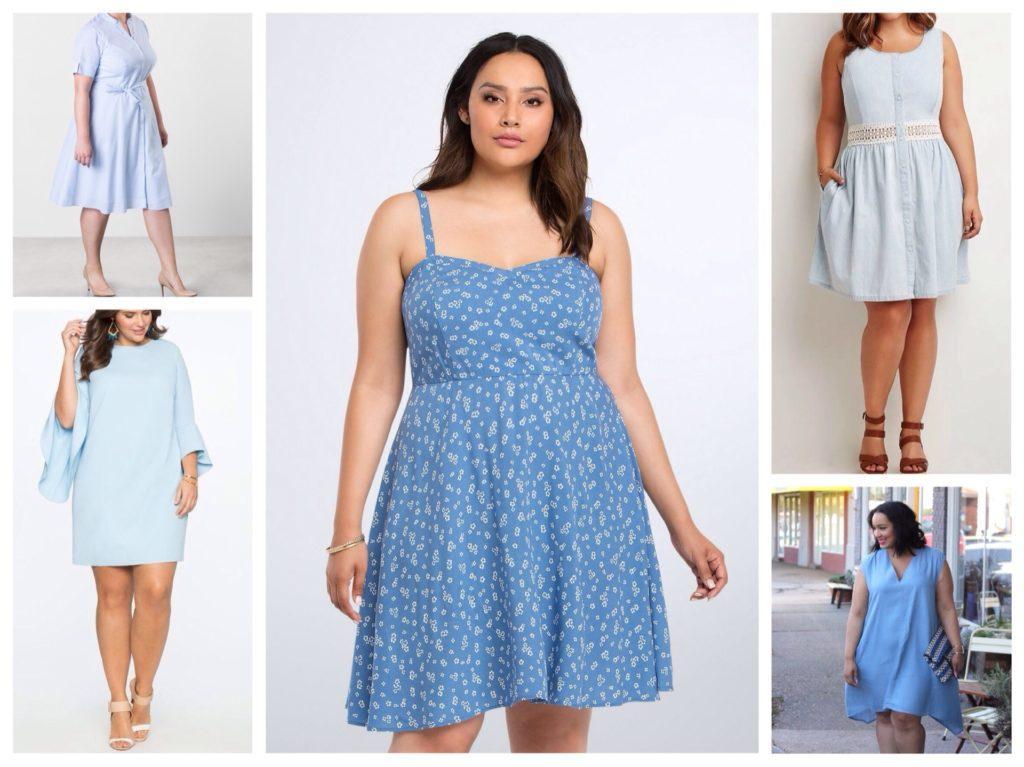 фасоны голубого платья для полных девушек