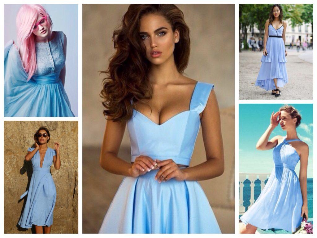 голубое платье фасоны