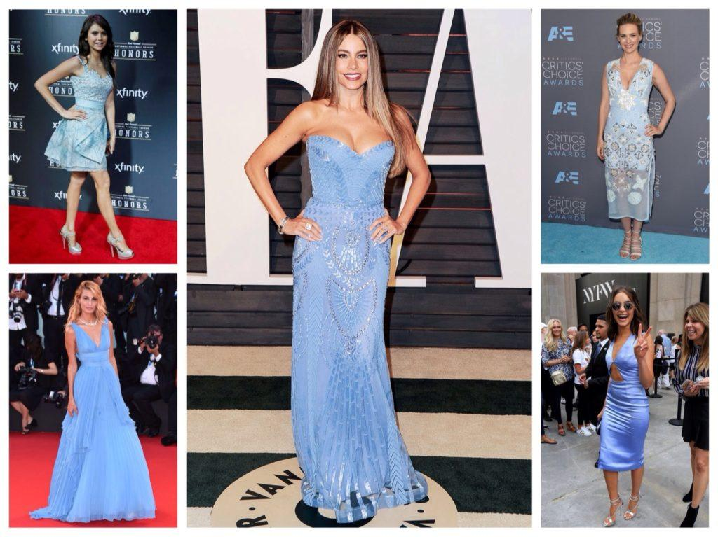голубое вечернее платье различных фасонов