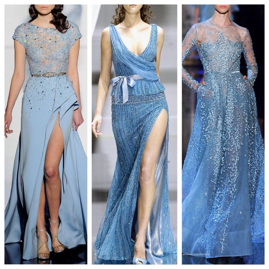 голубые платья в пол