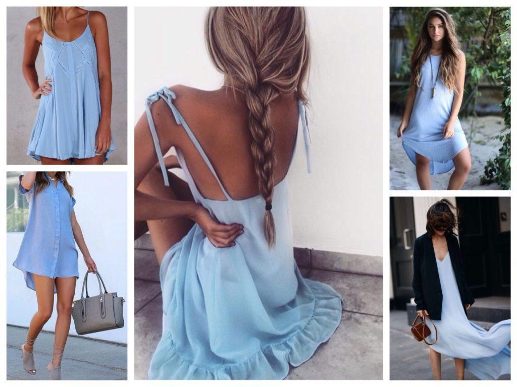 летние голубые платья
