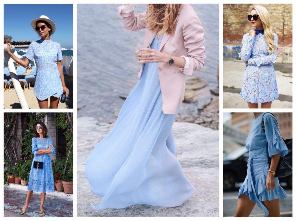 луки с голубым платьем