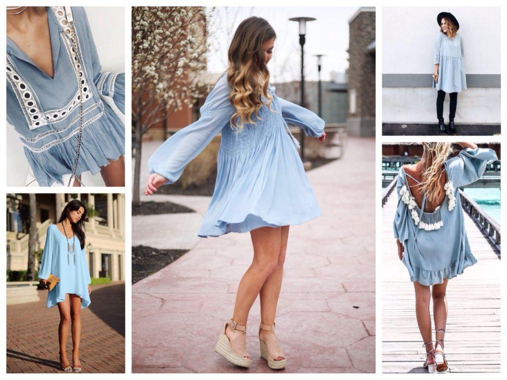 голубое платье в стиле бохо шик