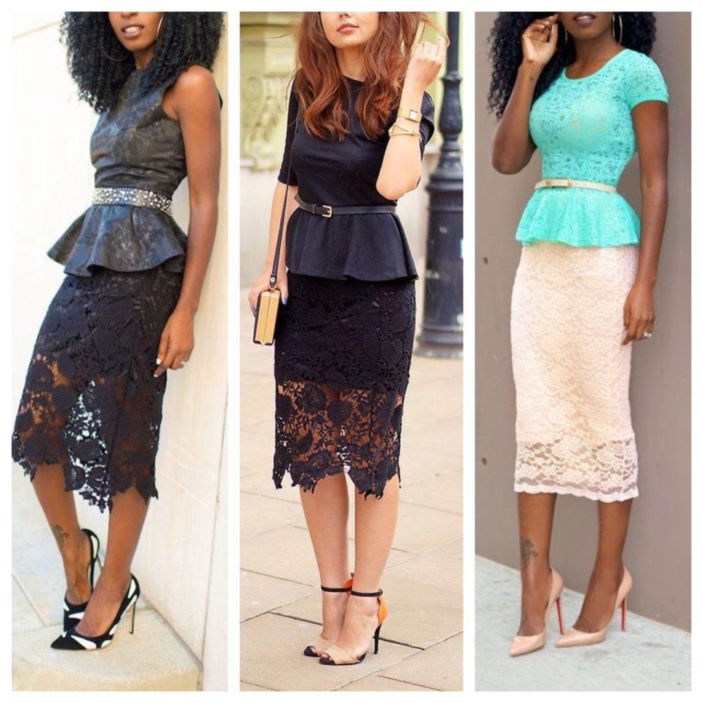 баска и юбка из кружева