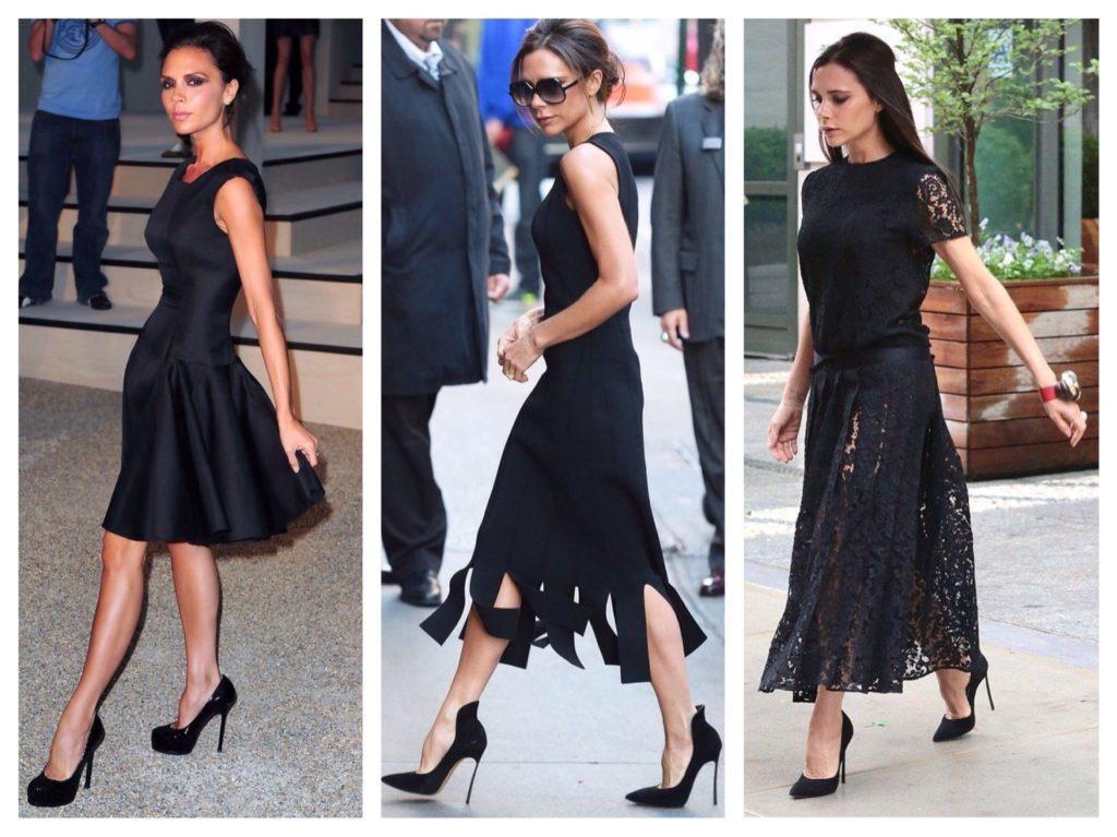 Черное платье образы Виктории Бекхэм