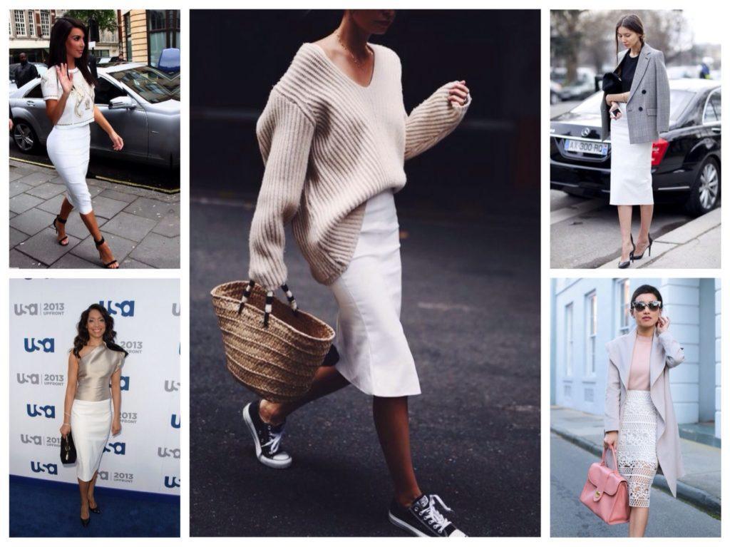 белые модели юбки карандаш аутфиты