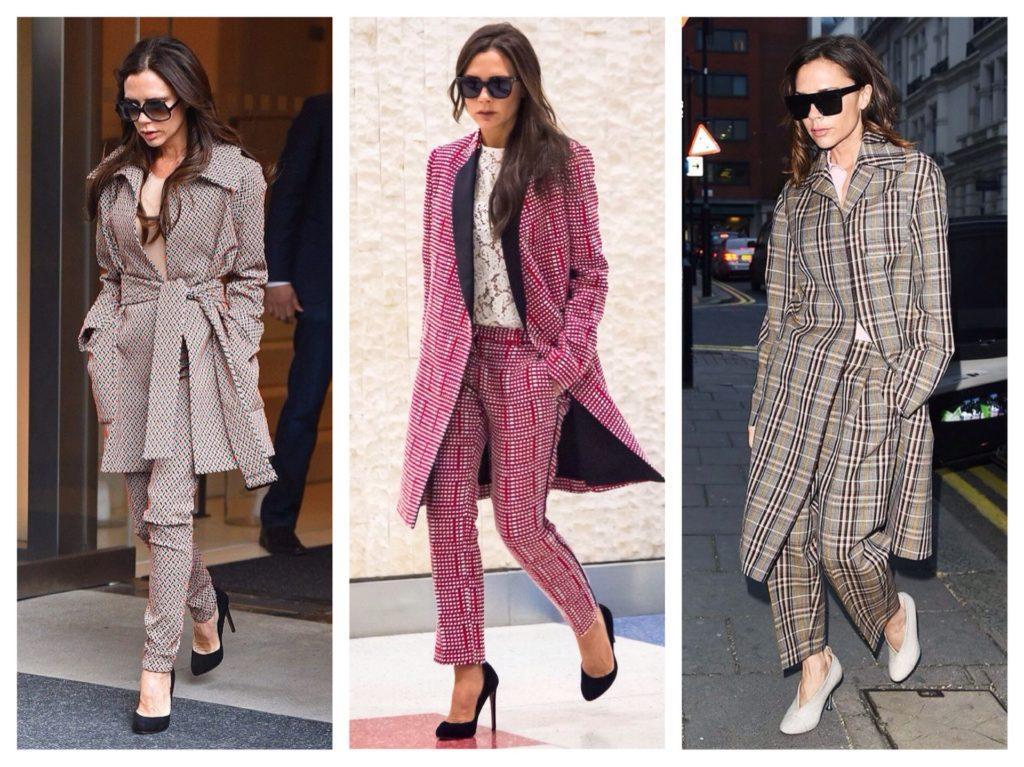 брючные комплекты с пальто Виктории Бекхэм