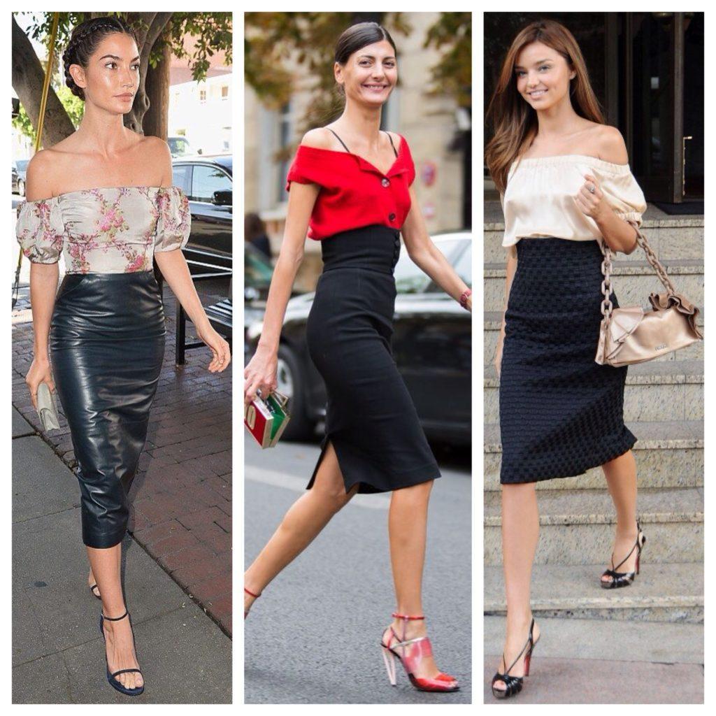 черная юбка и блуза с оголенными плечами