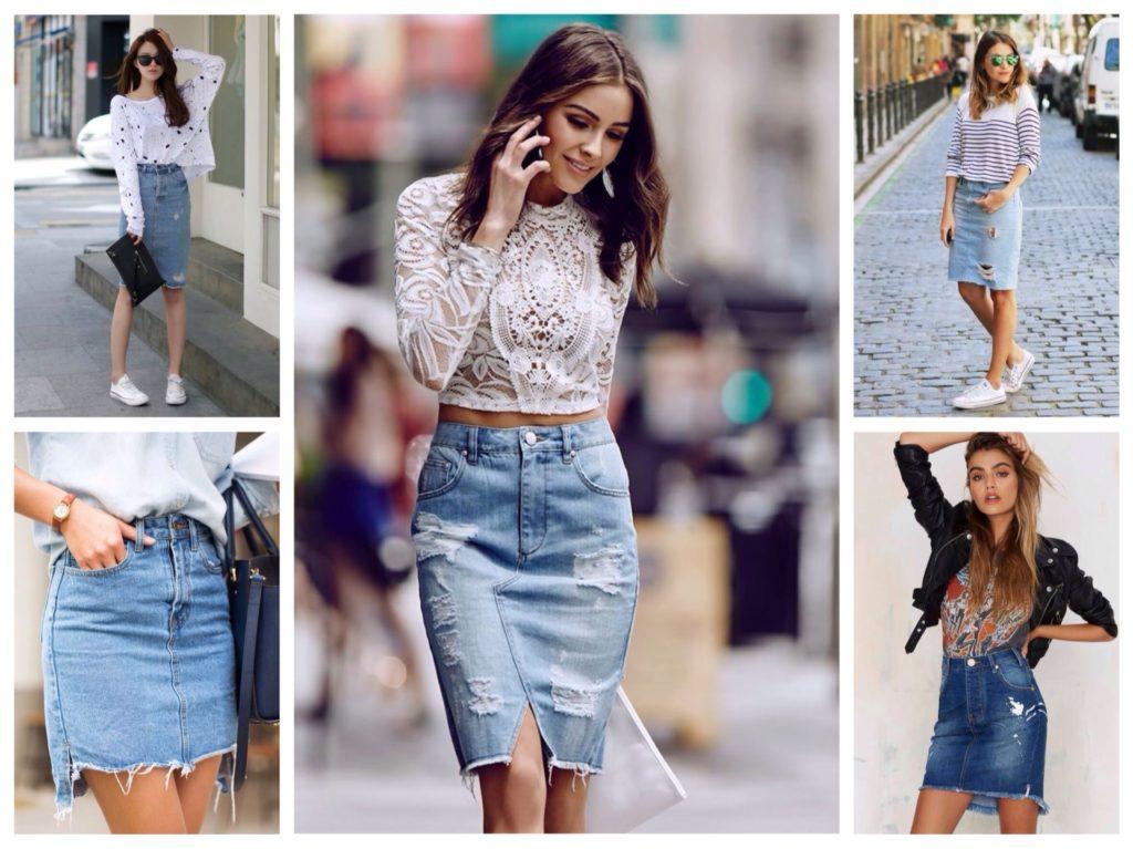 джинсовая юбка карандаш с майками и кроп топами