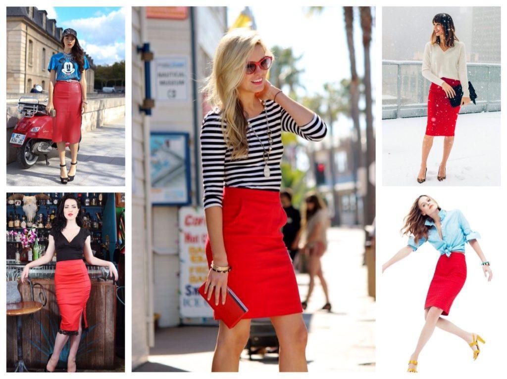 красные юбки карандаш образы